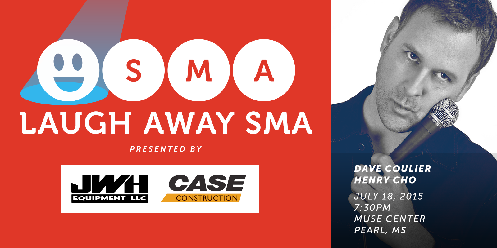 Laugh Away SMA logo with portrait of Tom Arnold